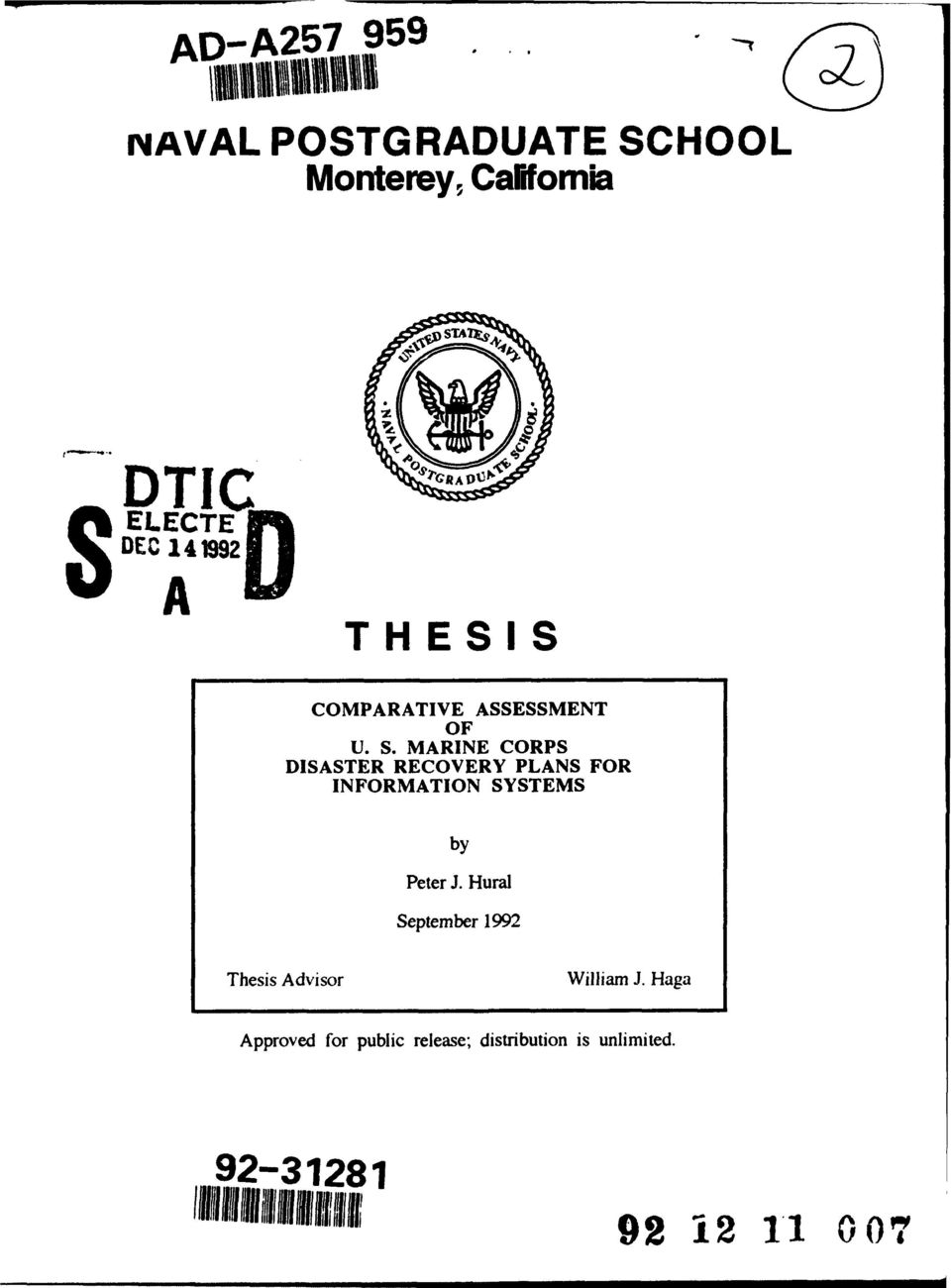 Hural September 1992 Thesis Advisor William J.