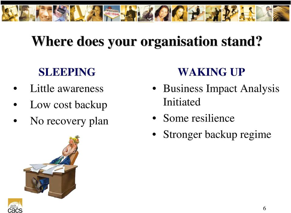 recovery plan WAKING UP Business Impact