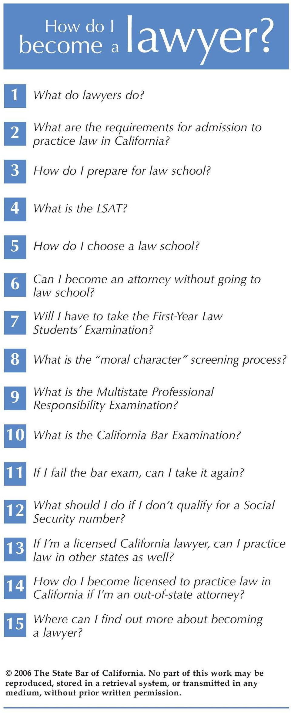 9 What is the Multistate Professional Responsibility Examination? 10 What is the California Bar Examination? 11 If I fail the bar exam, can I take it again?