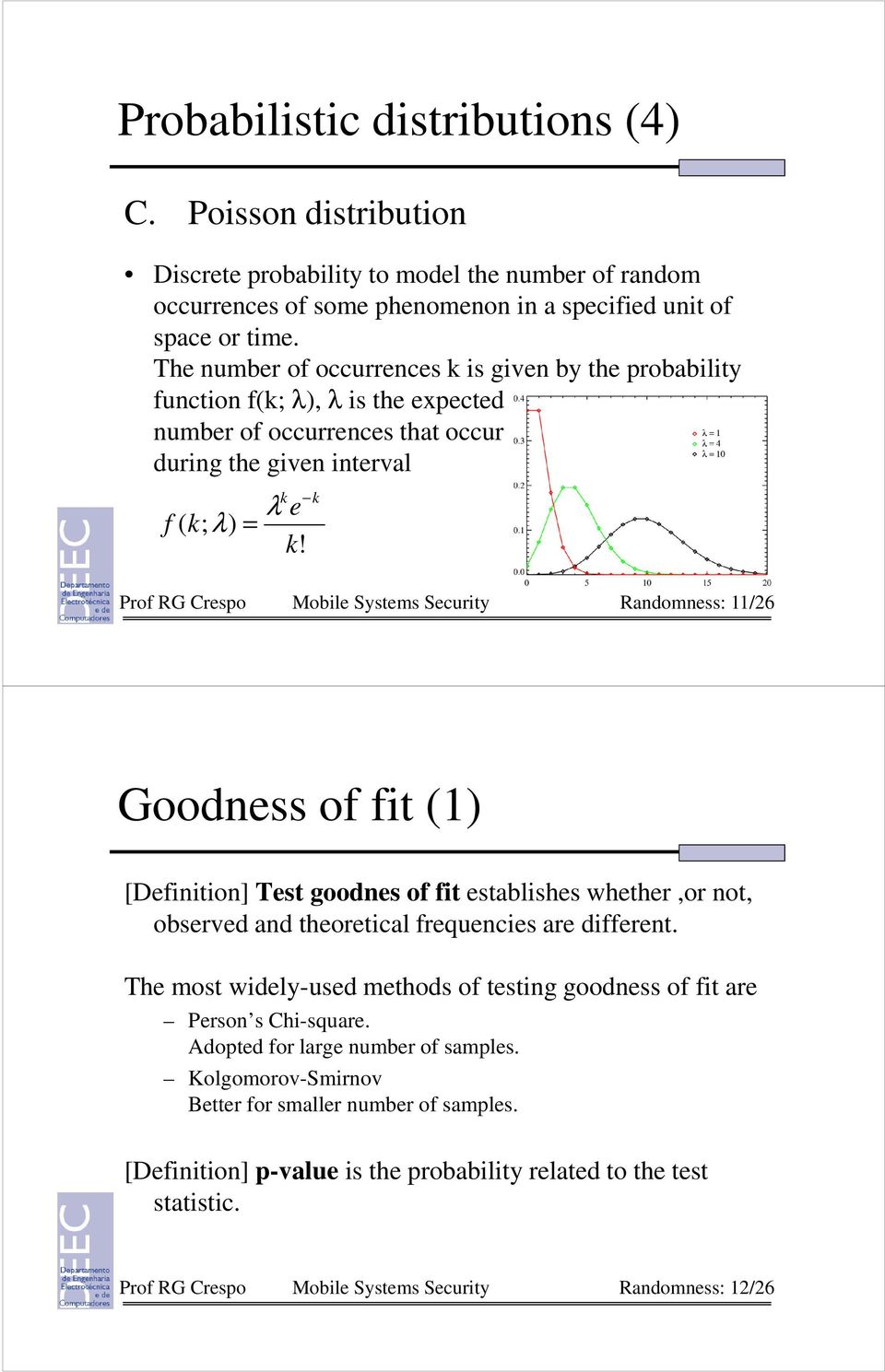 k k Prof RG Crespo Mobile Systems Security Randomness: 11/6 Goodness of fit (1) [Definition] Test goodnes of fit establishes whether,or not, observed and theoretical frequencies are different.