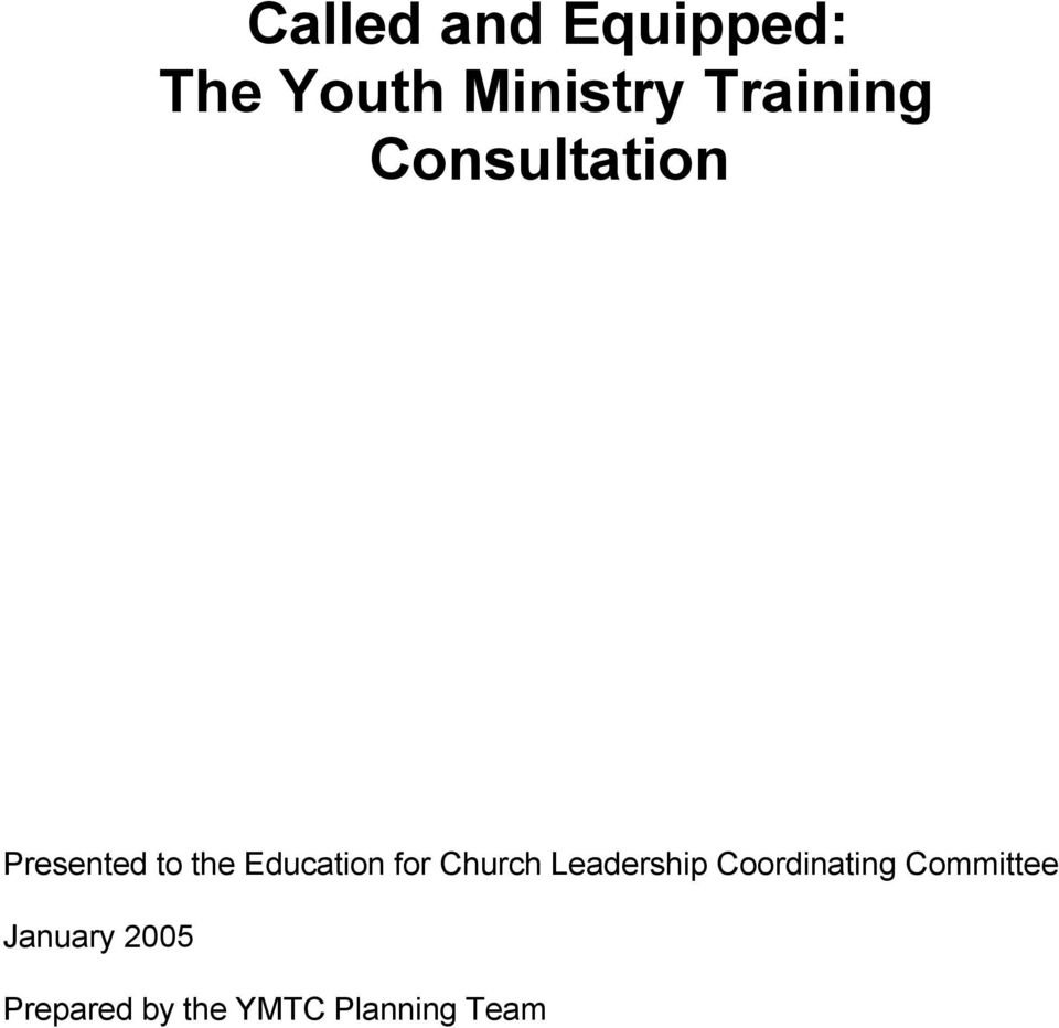Education for Church Leadership Coordinating