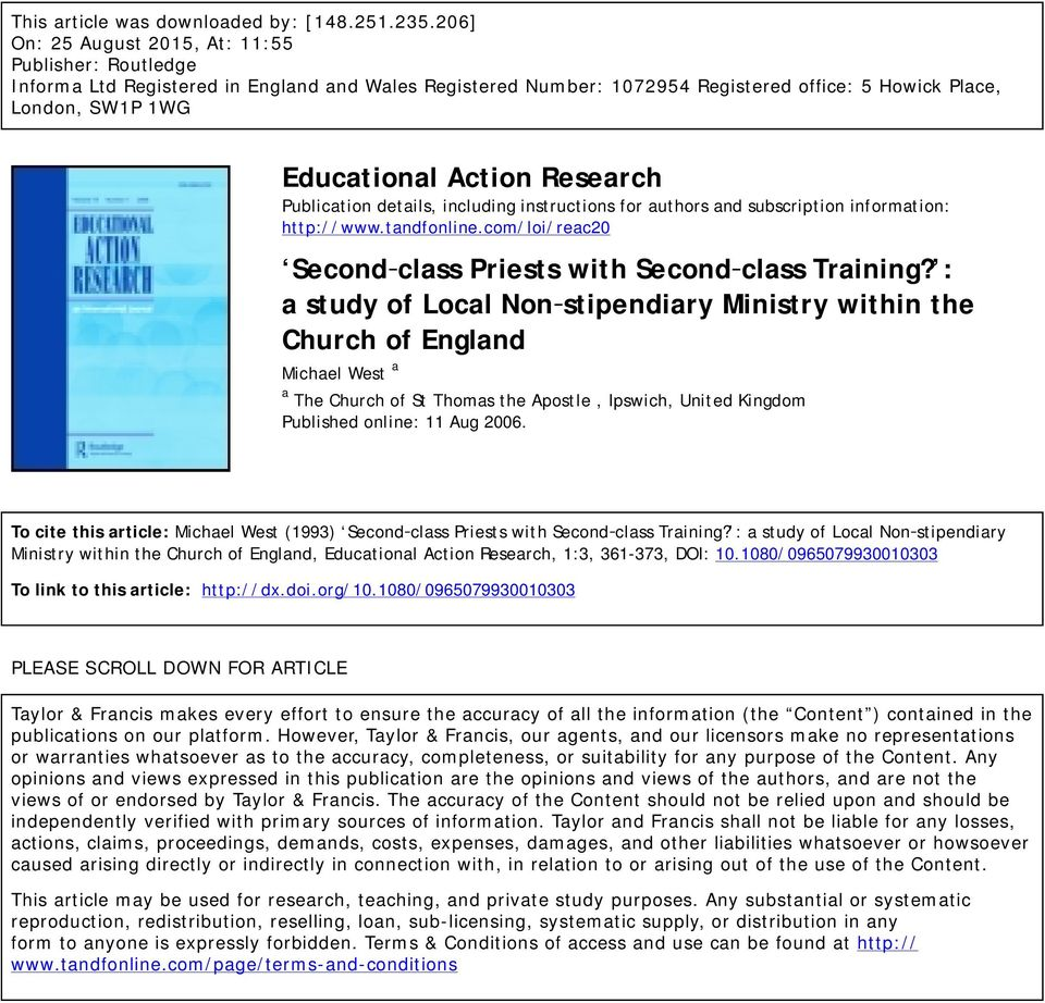Research Publication details, including instructions for authors and subscription information: http://www.tandfonline.com/loi/reac20 Second class Priests with Second class Training?