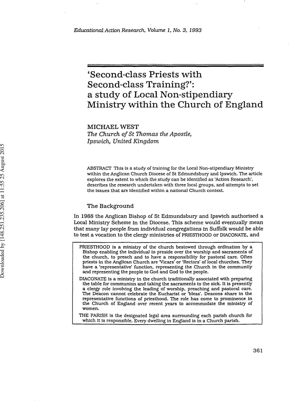 Non-stipendiary Ministry within the Anglican Church Diocese of St Edmundsbury and Ipswich.