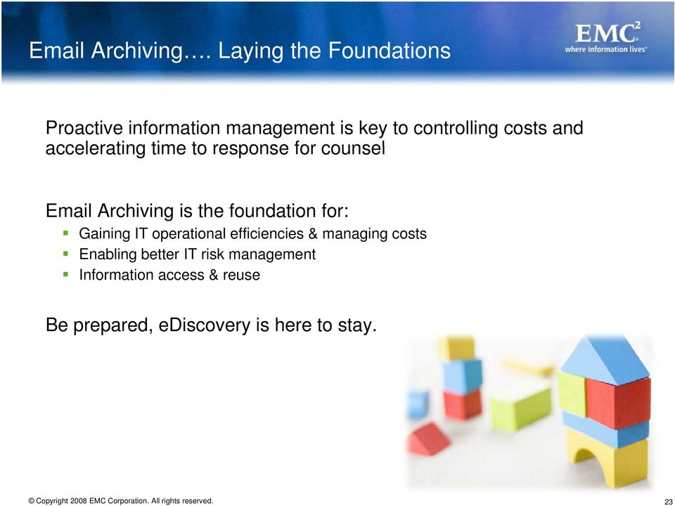 and accelerating time to response for counsel Email Archiving is the foundation for: