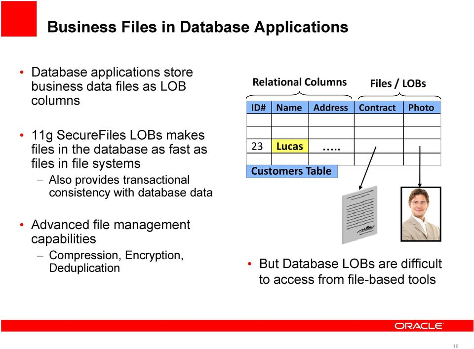 data Advanced file management capabilities Compression, Encryption, Deduplication Relational Columns ID# Name Address