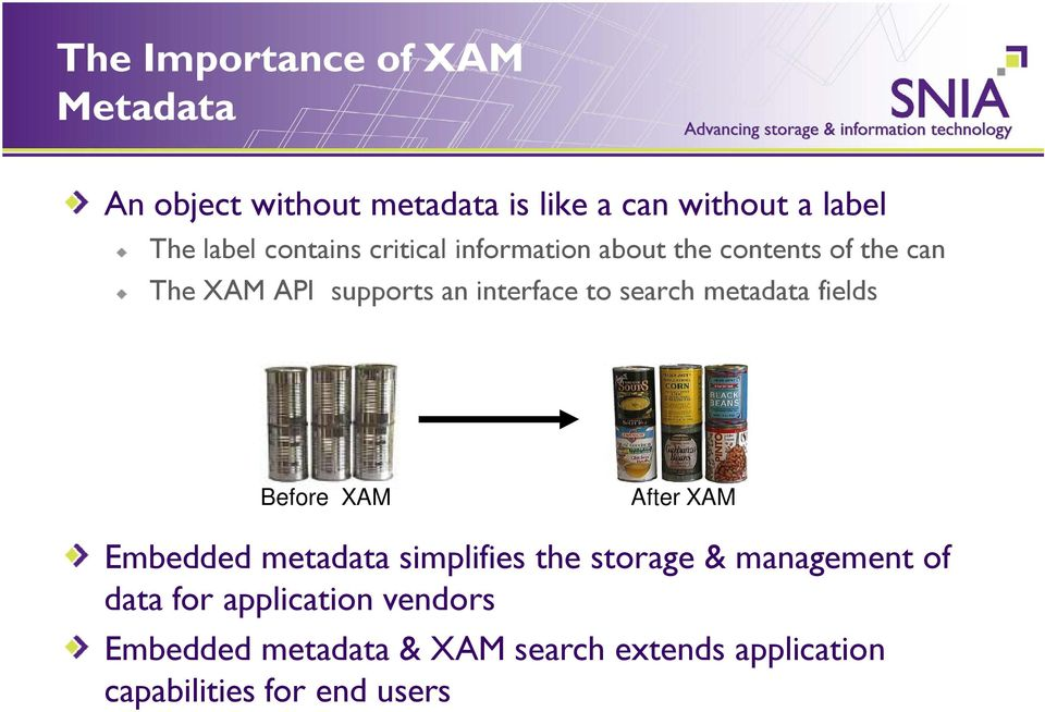 search metadata fields Before XAM After XAM Embedded metadata simplifies the storage & management of