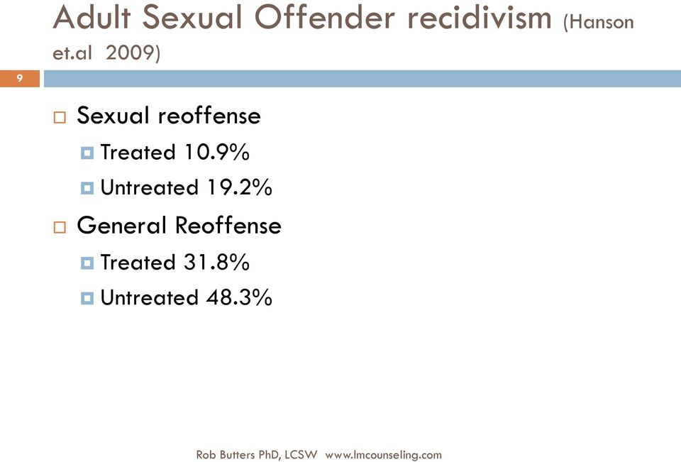 9% Untreated 19.2% General Reoffense Treated 31.
