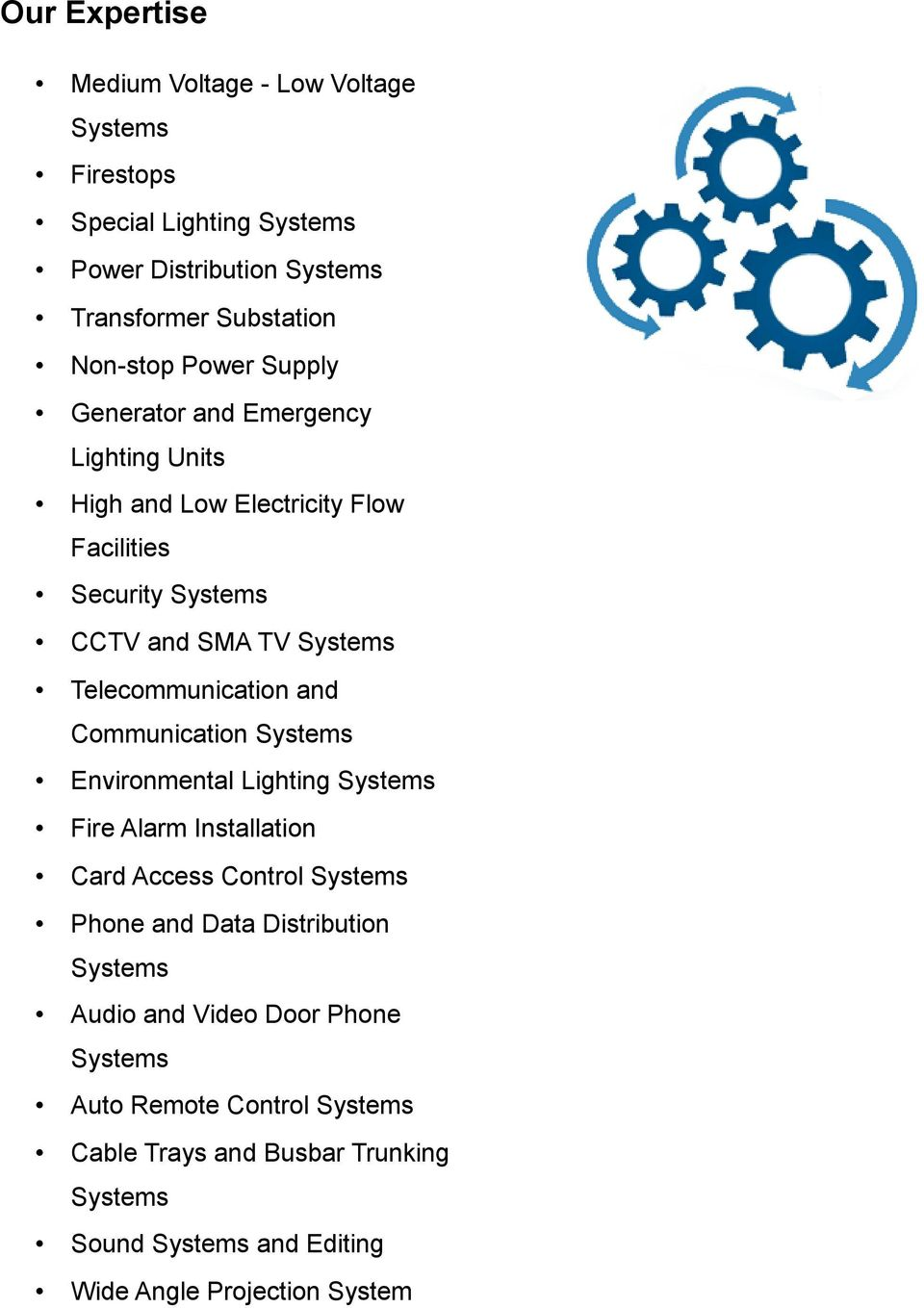Telecommunication and Communication Systems Environmental Lighting Systems Fire Alarm Installation Card Access Control Systems Phone and Data