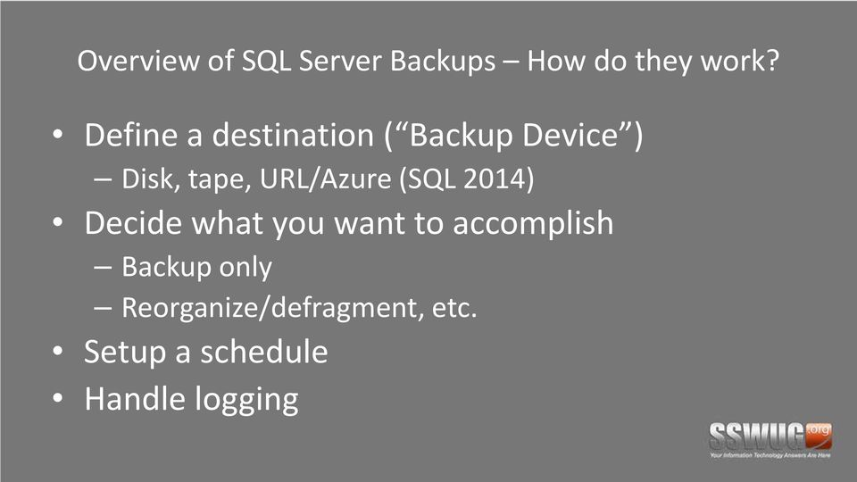 URL/Azure (SQL 2014) Decide what you want to accomplish