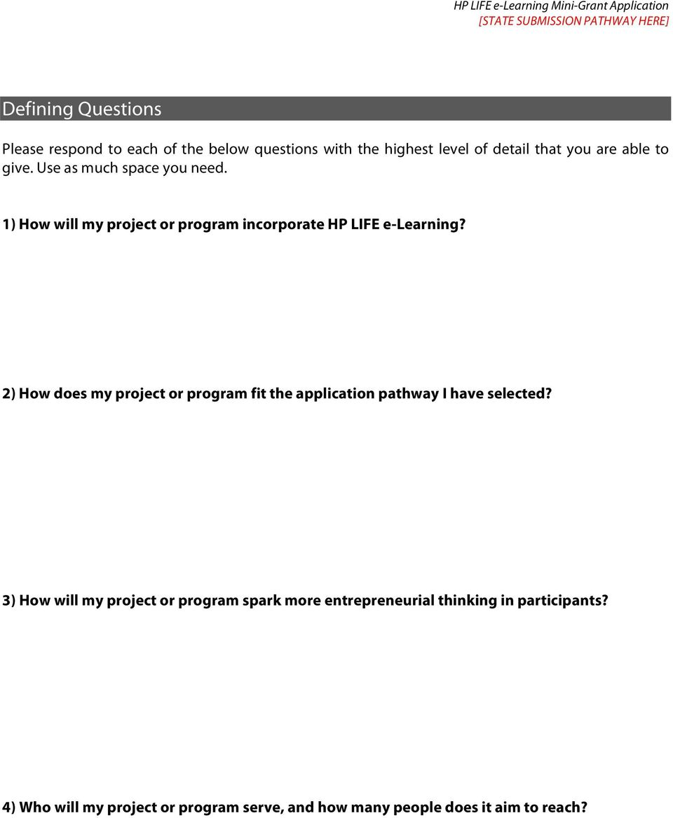 1) How will my project or program incorporate HP LIFE e-learning?