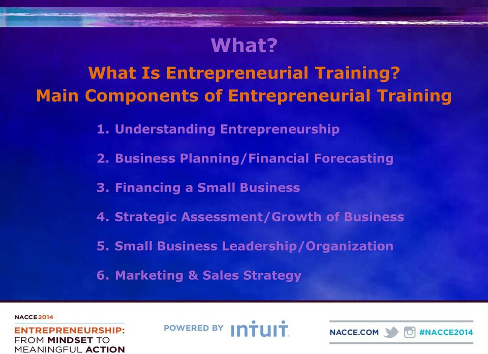 Understanding Entrepreneurship 2. Business Planning/Financial Forecasting 3.