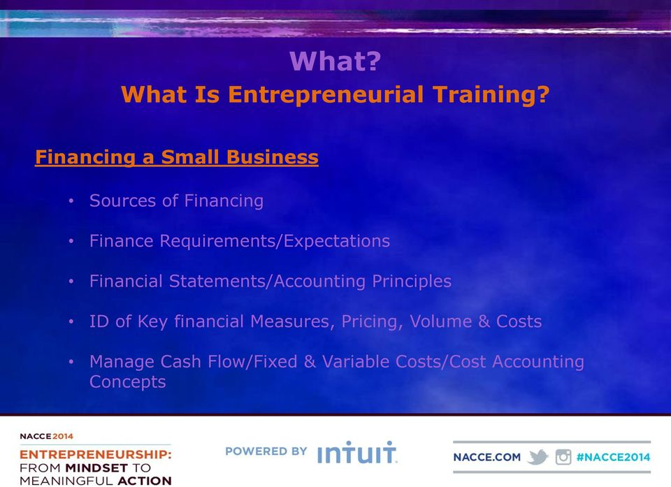 Requirements/Expectations Financial Statements/Accounting Principles