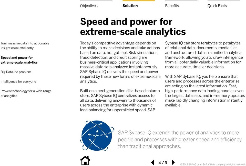 SAP Sybase IQ delivers the speed and power required by these new forms of extreme-scale analytics.