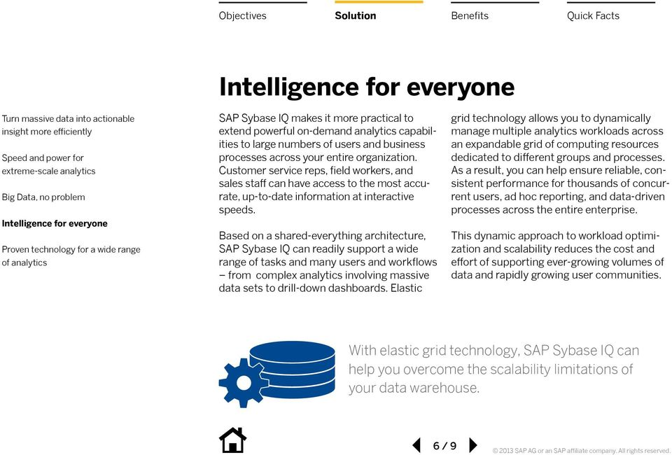 Based on a shared-everything architecture, SAP Sybase IQ can readily support a wide range of tasks and many users and workflows from complex analytics involving massive data sets to drill-down