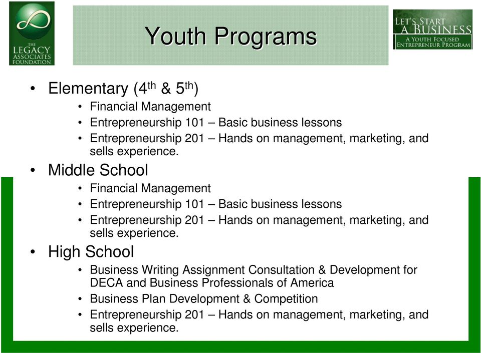Middle School Financial Management Entrepreneurship 101 Basic business lessons Entrepreneurship 201 Hands on  High School Business Writing
