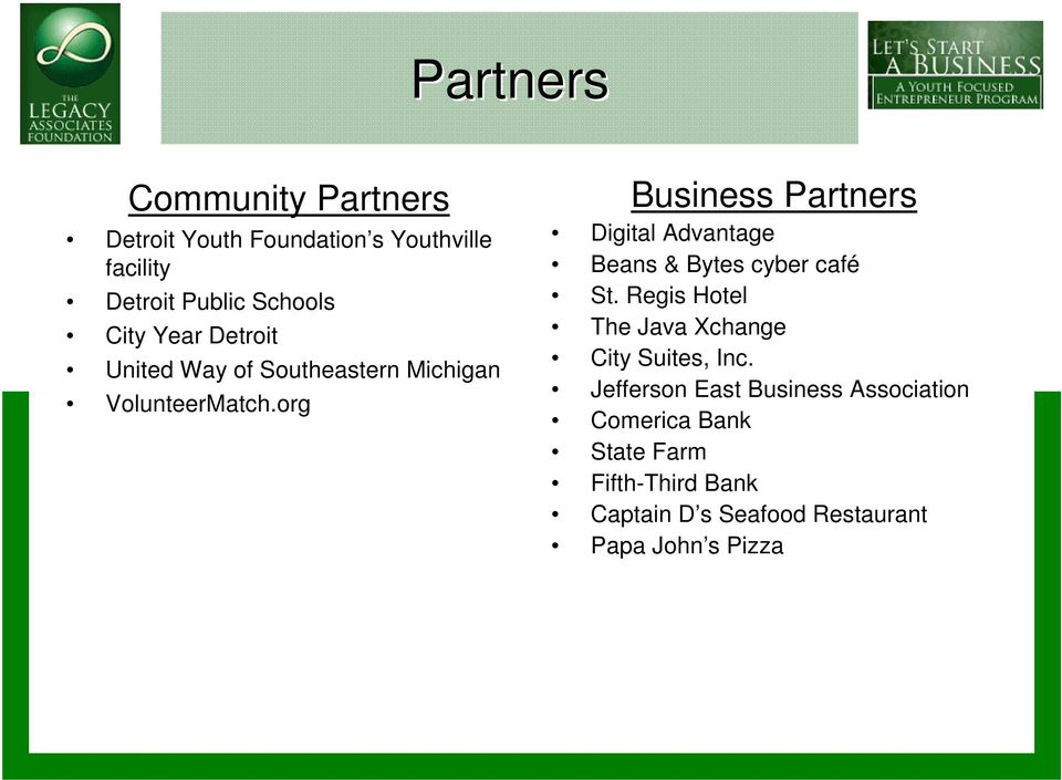 org Business Partners Digital Advantage Beans & Bytes cyber café St.
