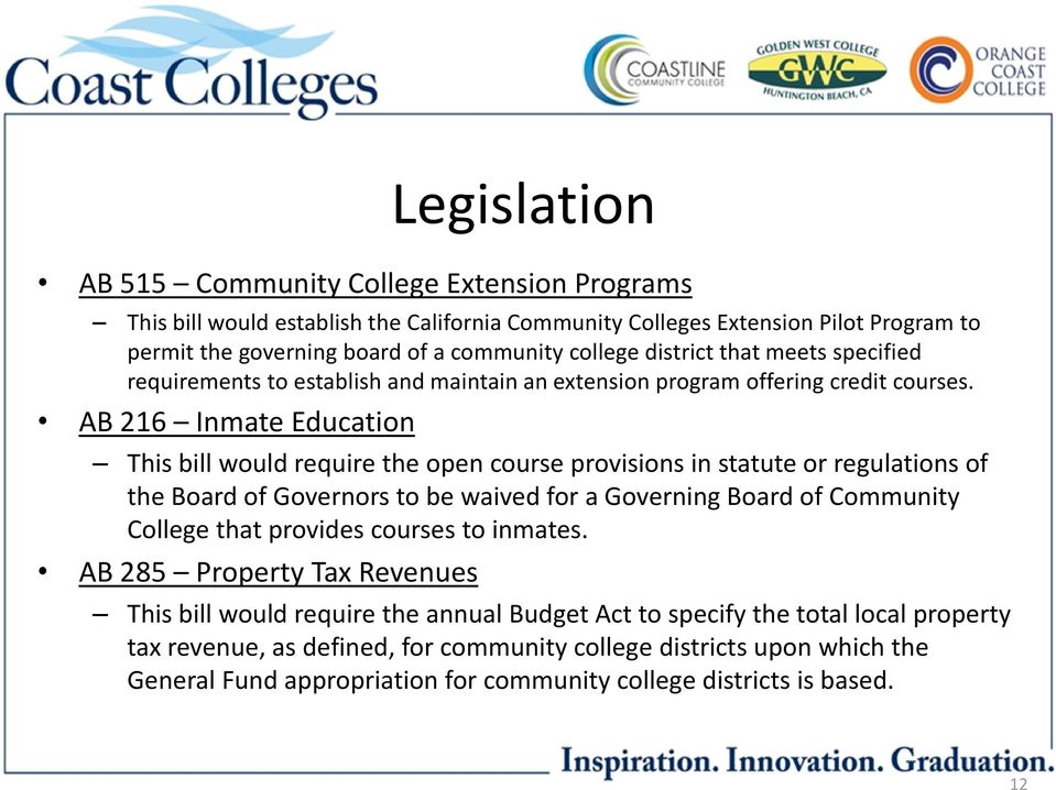 AB 216 Inmate Education This bill would require the open course provisions in statute or regulations of the Board of Governors to be waived for a Governing Board of Community College that
