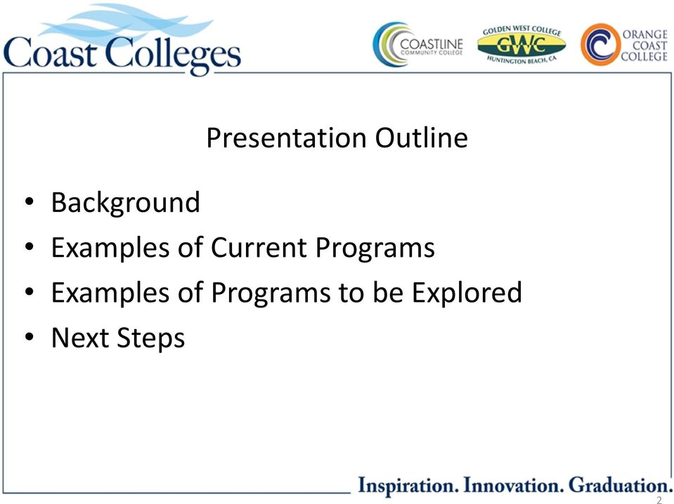 Current Programs Examples