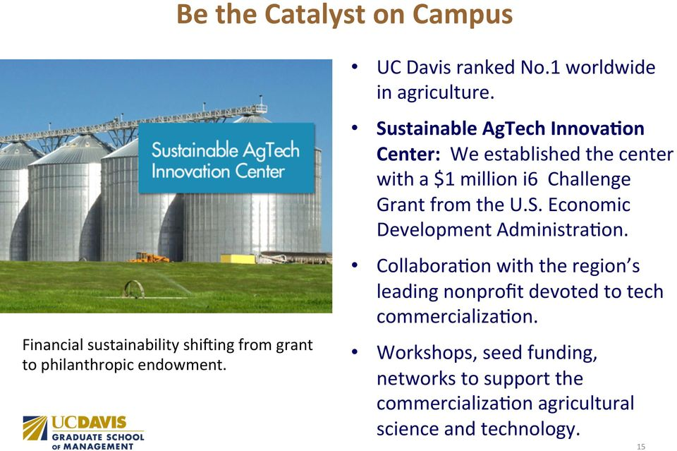 Sustainable AgTech Innova8on Center: We established the center with a $1 million i6 Challenge Grant from the U.S. Economic Development AdministraRon.
