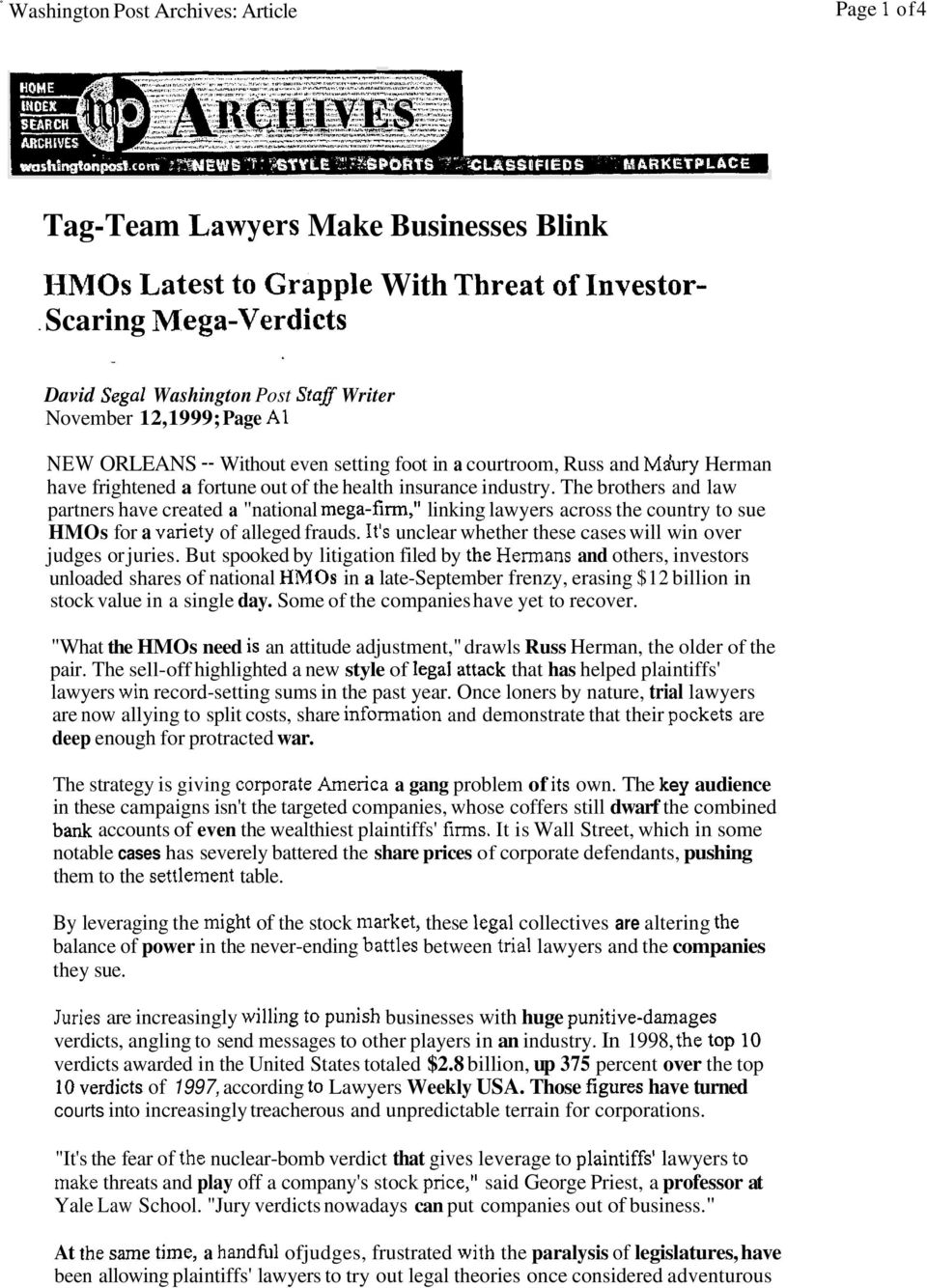 "the health insurance industry. The brothers and law partners have created a ""national mega-firm,tt linking lawyers across the country to sue HMOs for a variety of alleged frauds."