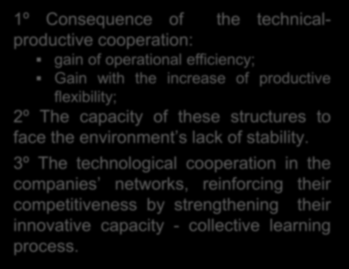 Conclusion Impacts of network arrangements 1º Consequence of the technicalproductive cooperation: gain of operational efficiency; Gain with the increase of productive flexibility; 2º The capacity of