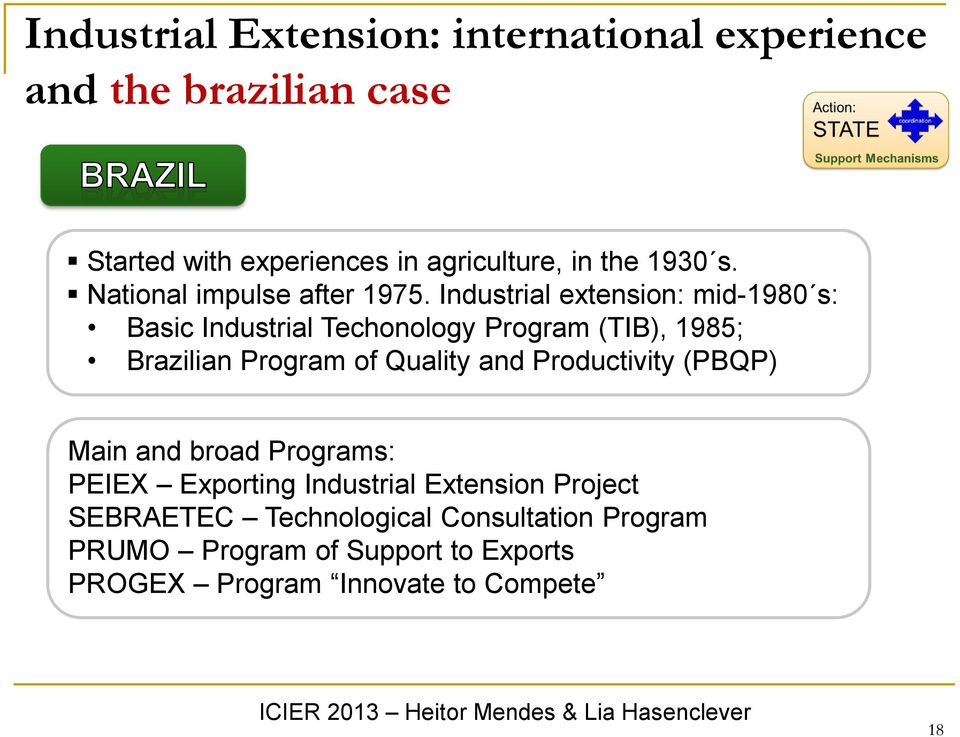 Industrial extension: mid-1980 s: Basic Industrial Techonology Program (TIB), 1985; Brazilian Program of Quality and