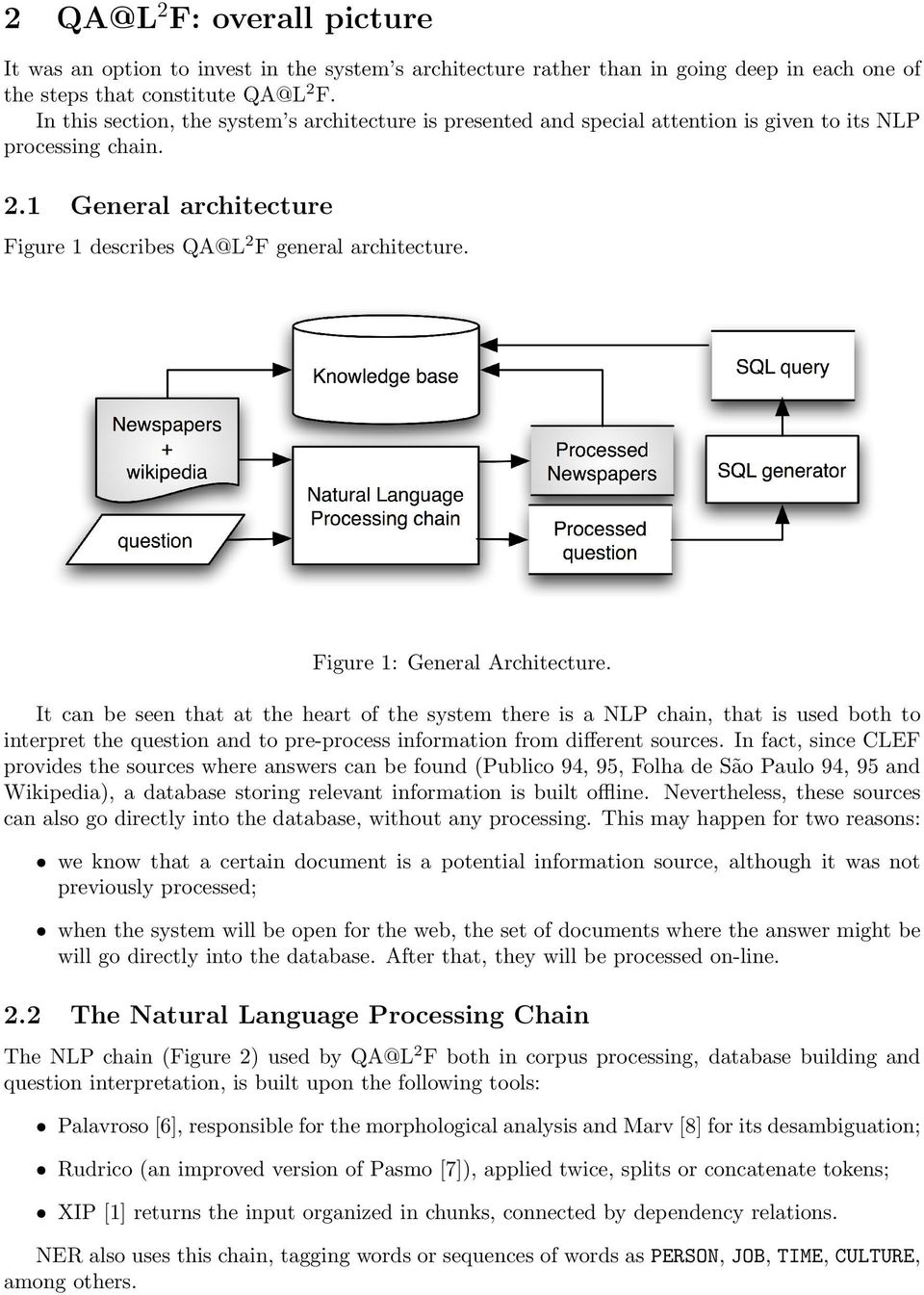 Figure 1: General Architecture. It can be seen that at the heart of the system there is a NLP chain, that is used both to interpret the question and to pre-process information from different sources.