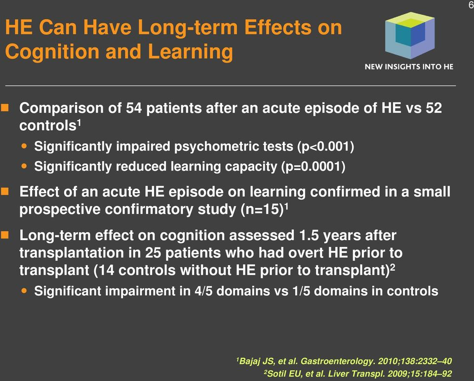 0001) Effect of an acute HE episode on learning confirmed in a small prospective confirmatory study (n=15) 1 Long-term effect on cognition assessed 1.