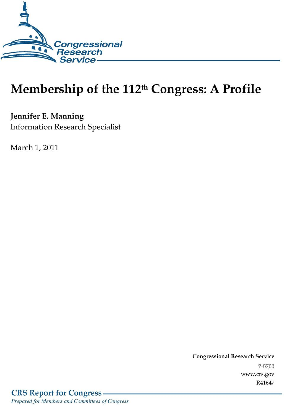 2011 Congressional Research Service CRS Report