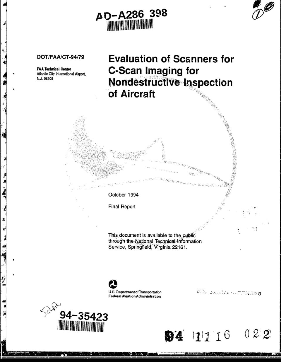 a n mag m gn gfoo Nontdestructive -Inspection of Aircraft October 1994 Final Report This document is available