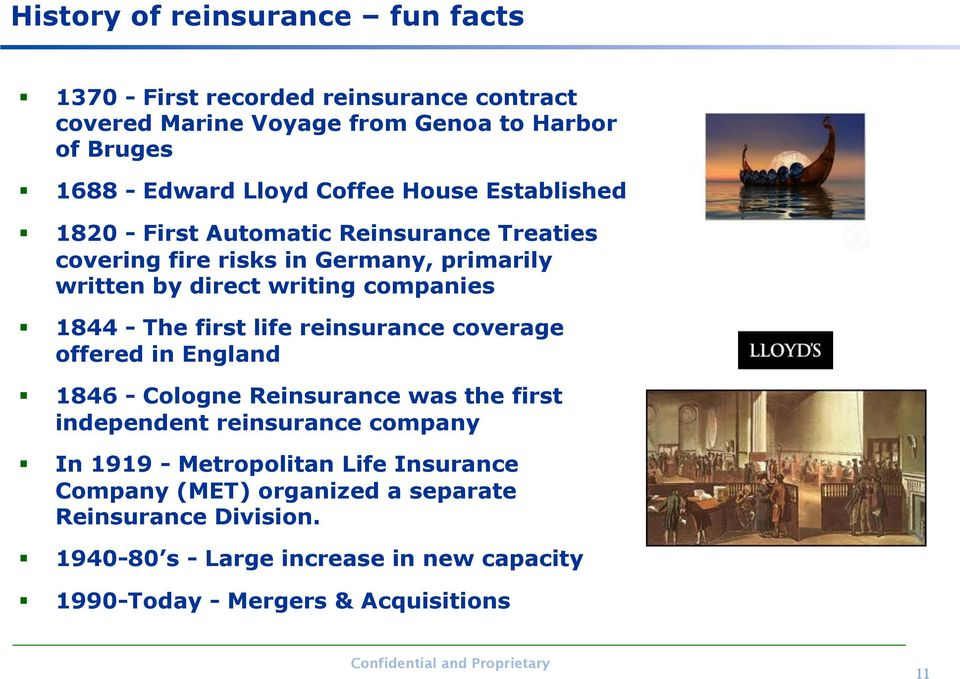 - The first life reinsurance coverage offered in England 1846 - Cologne Reinsurance was the first independent reinsurance company In 1919 -