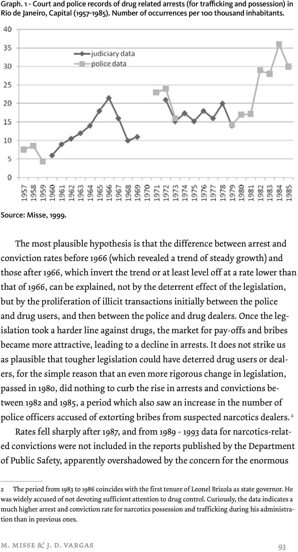 The most plausible hypothesis is that the difference between arrest and conviction rates before 1966 (which revealed a trend of steady growth) and those after 1966, which invert the trend or at least