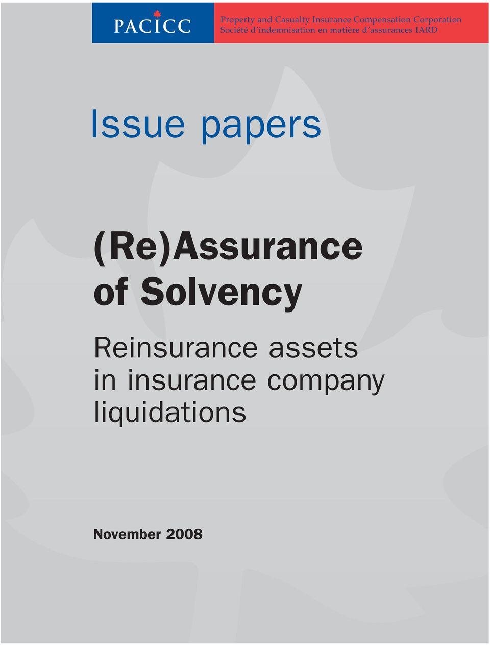 assurances IARD Issue papers (Re)Assurance of