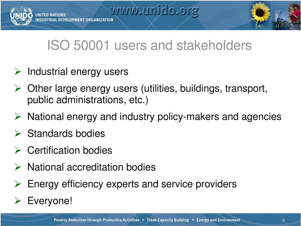 ) National energy and industry policy-makers and agencies Standards bodies