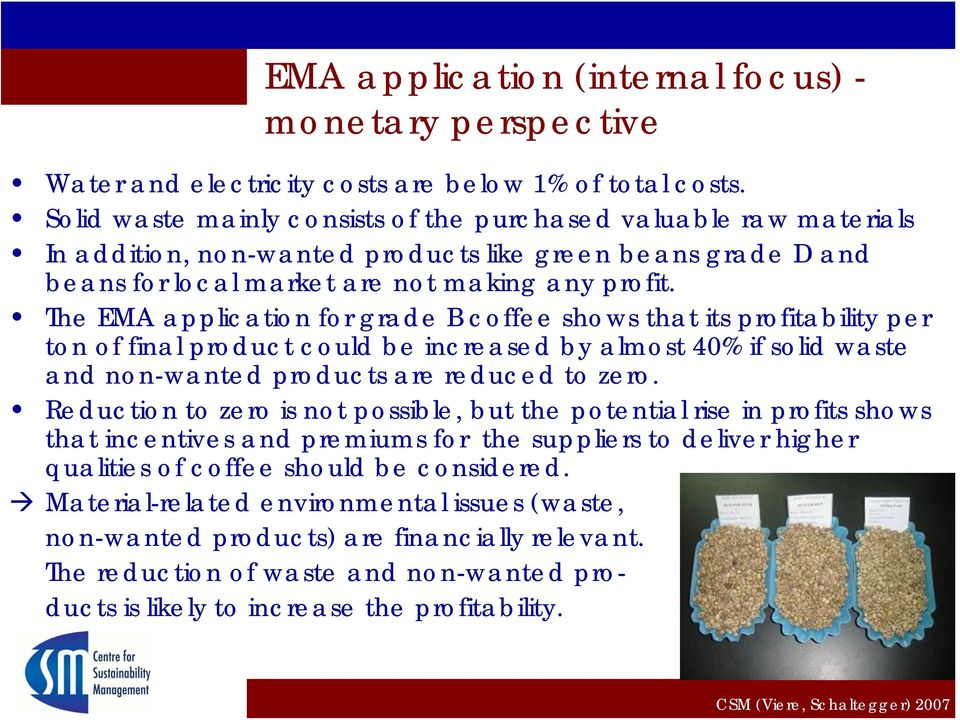 The EMA application for grade B coffee shows that its profitability per ton of final product could be increased by almost 40% if solid waste and non-wanted products are reduced to zero.