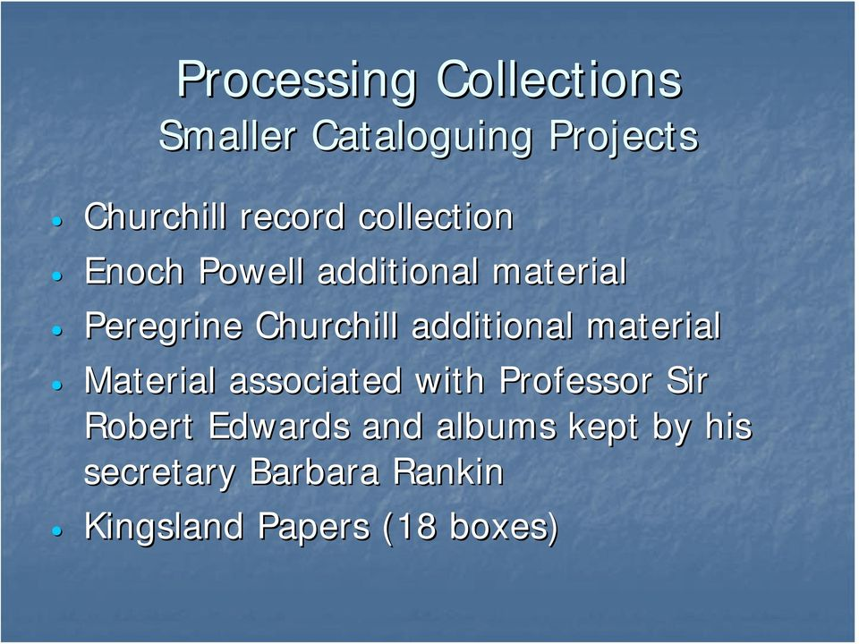 additional material Material associated with Professor Sir Robert