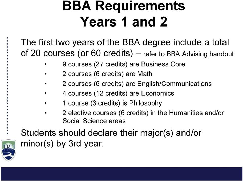 are English/Communications 4 courses (12 credits) are Economics 1 course (3 credits) is Philosophy 2 elective courses (6