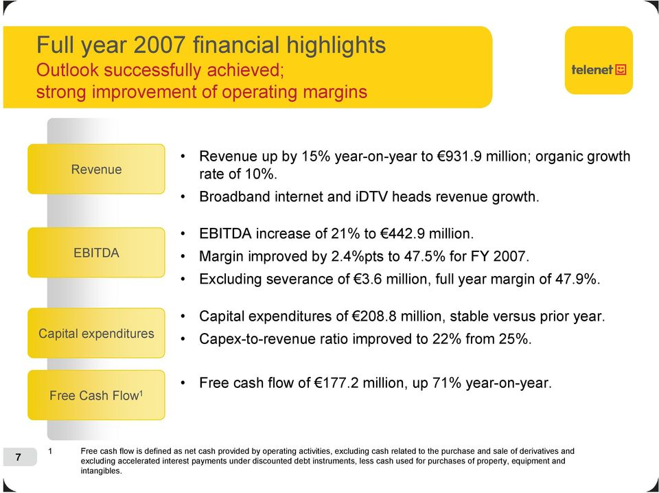 Excluding severance of 3.6 million, full year margin of 47.9%. Capital expenditures of 208.8 million, stable versus prior year. Capex-to-revenue ratio improved to 22% from 25%.