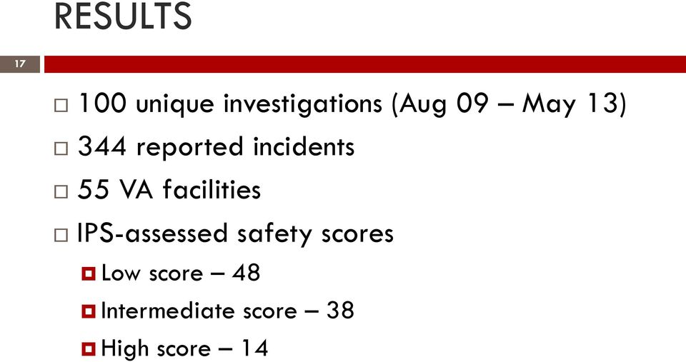 facilities IPS-assessed safety scores Low