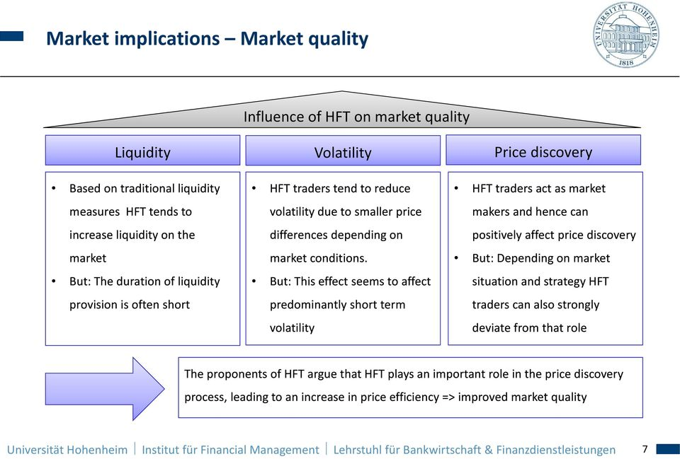 But: This effect seems to affect predominantly short term volatility HFT traders act as market makers and hence can positively affect price discovery But: Depending on market situation and strategy