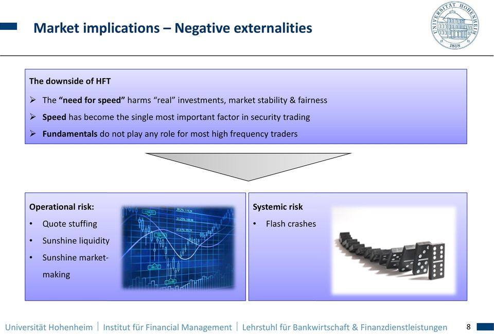 role for most high frequency traders Operational risk: Quote stuffing Sunshine liquidity Sunshine marketmaking Systemic