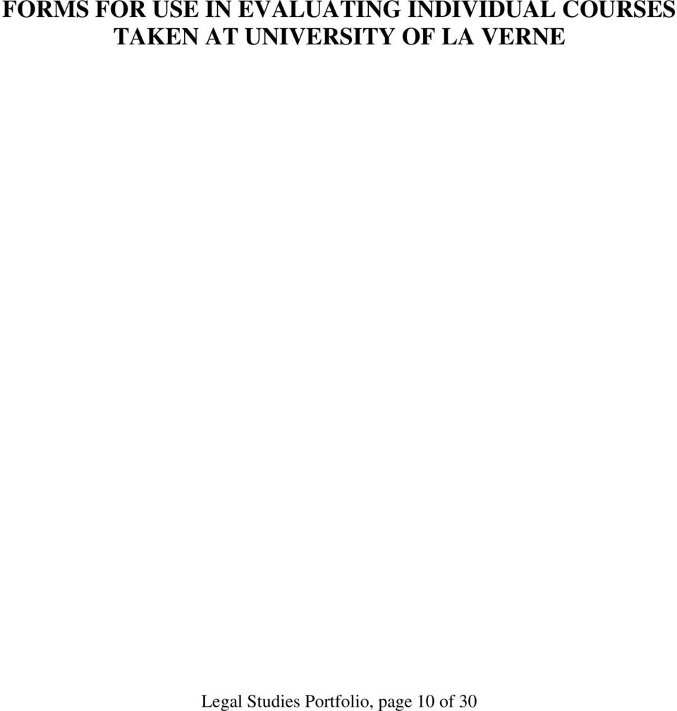 UNIVERSITY OF LA VERNE Legal