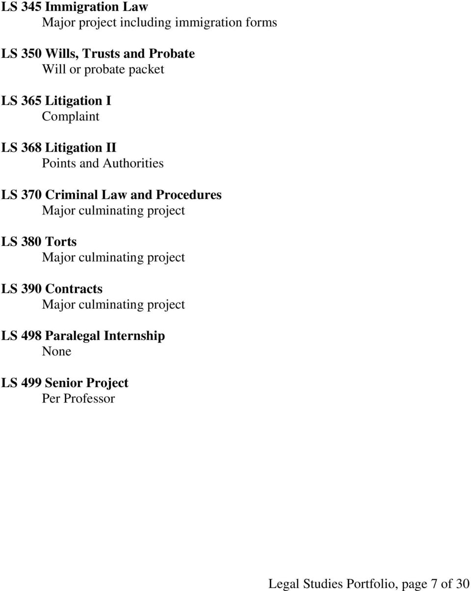 and Procedures Major culminating project LS 380 Torts Major culminating project LS 390 Contracts Major