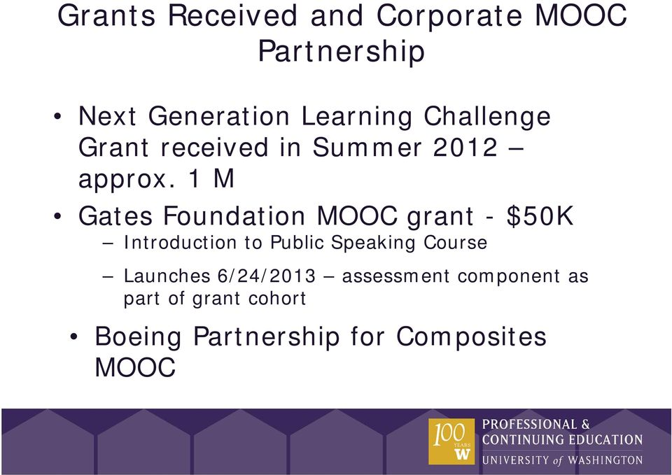 1 M Gates Foundation MOOC grant - $50K Introduction to Public Speaking