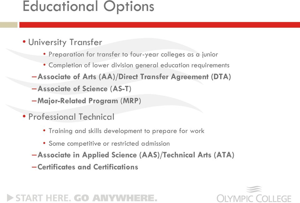 (AS-T) Major-Related Program (MRP) Professional Technical Training and skills development to prepare for work Some