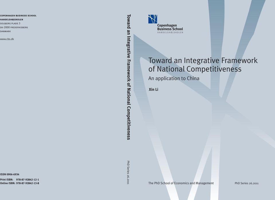 National Competitiveness An application to China Xin Li ISSN 0906-6934 Print ISBN: 978-87-92842-12-1
