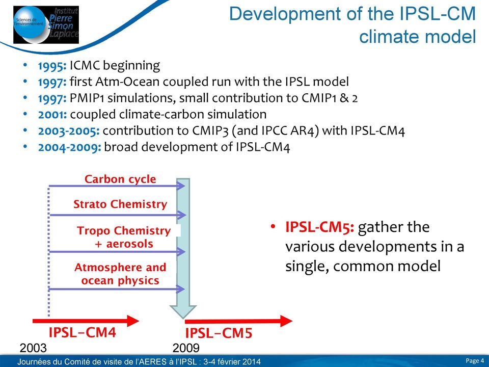2003-2005: contribution to CMIP3 (and IPCC AR4) with IPSL-CM4 2004-2009: broad development of IPSL-CM4