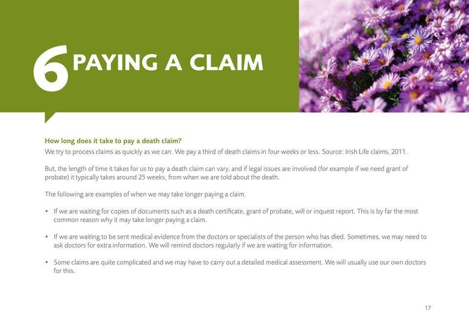 told about the death. The following are examples of when we may take longer paying a claim.