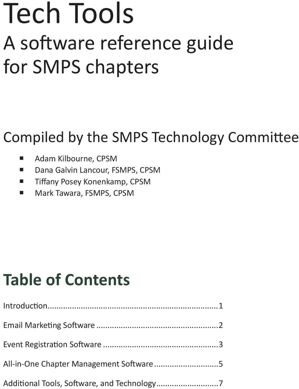 FSMPS, CPSM Table of Contents Introduction...1 Email Marketing Software.