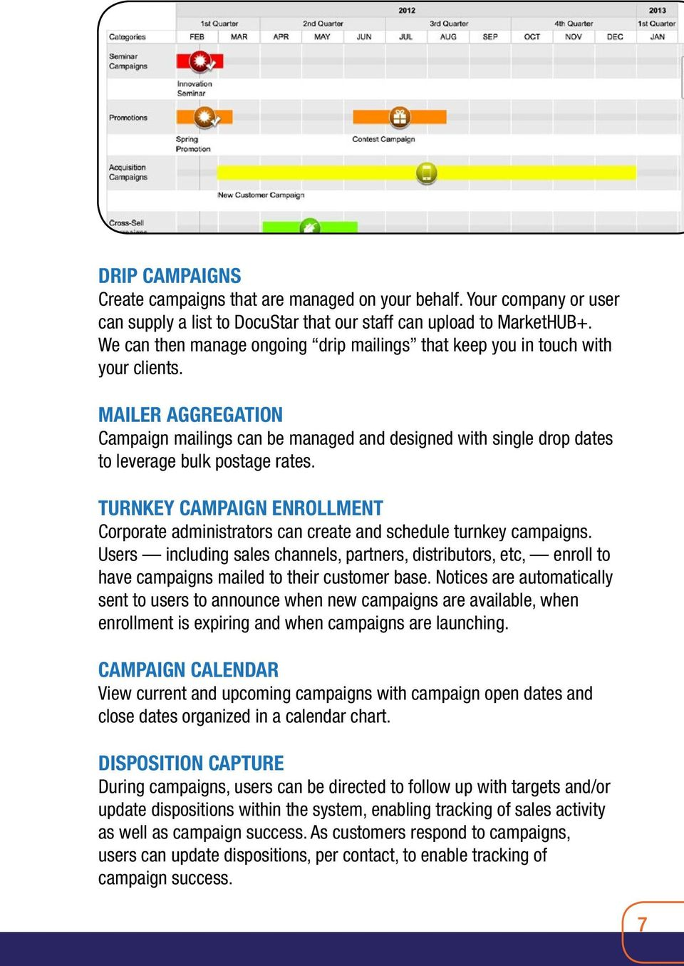 MAILER AGGREGATION Campaign mailings can be managed and designed with single drop dates to leverage bulk postage rates.